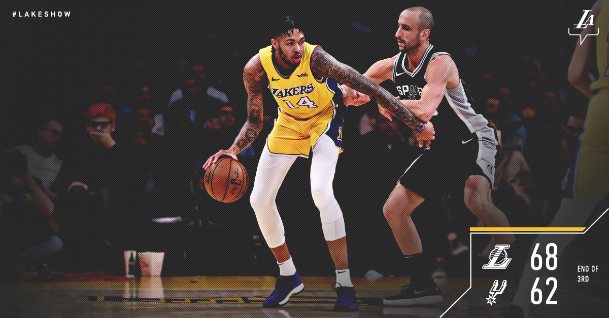 #LakeShow up 6 with 12 minutes to go.   @B_Ingram13: 22 pts @ZO2_: 13 pts, 9 reb, 6 ast https://t.co/Ah1FALg9zx