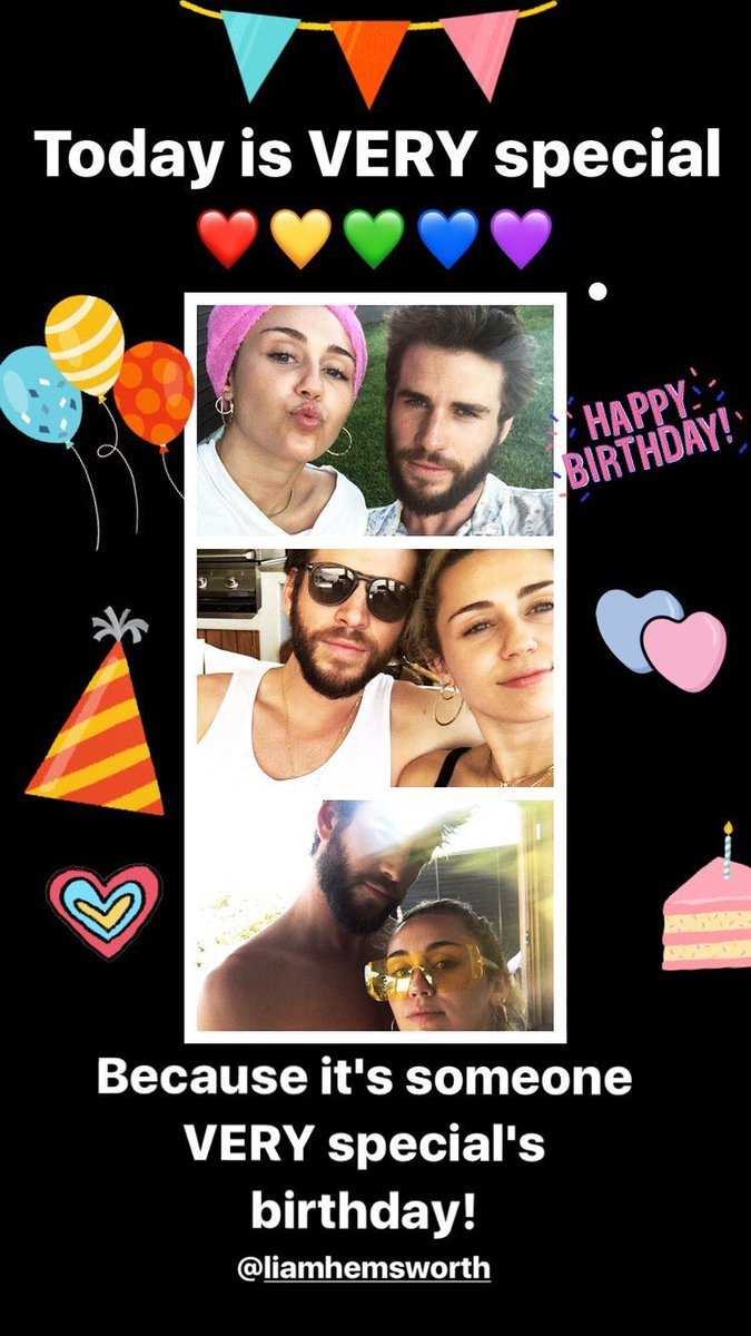 Today is VERY special! ❤️???????????????? Because it's someone very special's birthday! @LiamHemsworth https://t.co/QOSl6QYyLf
