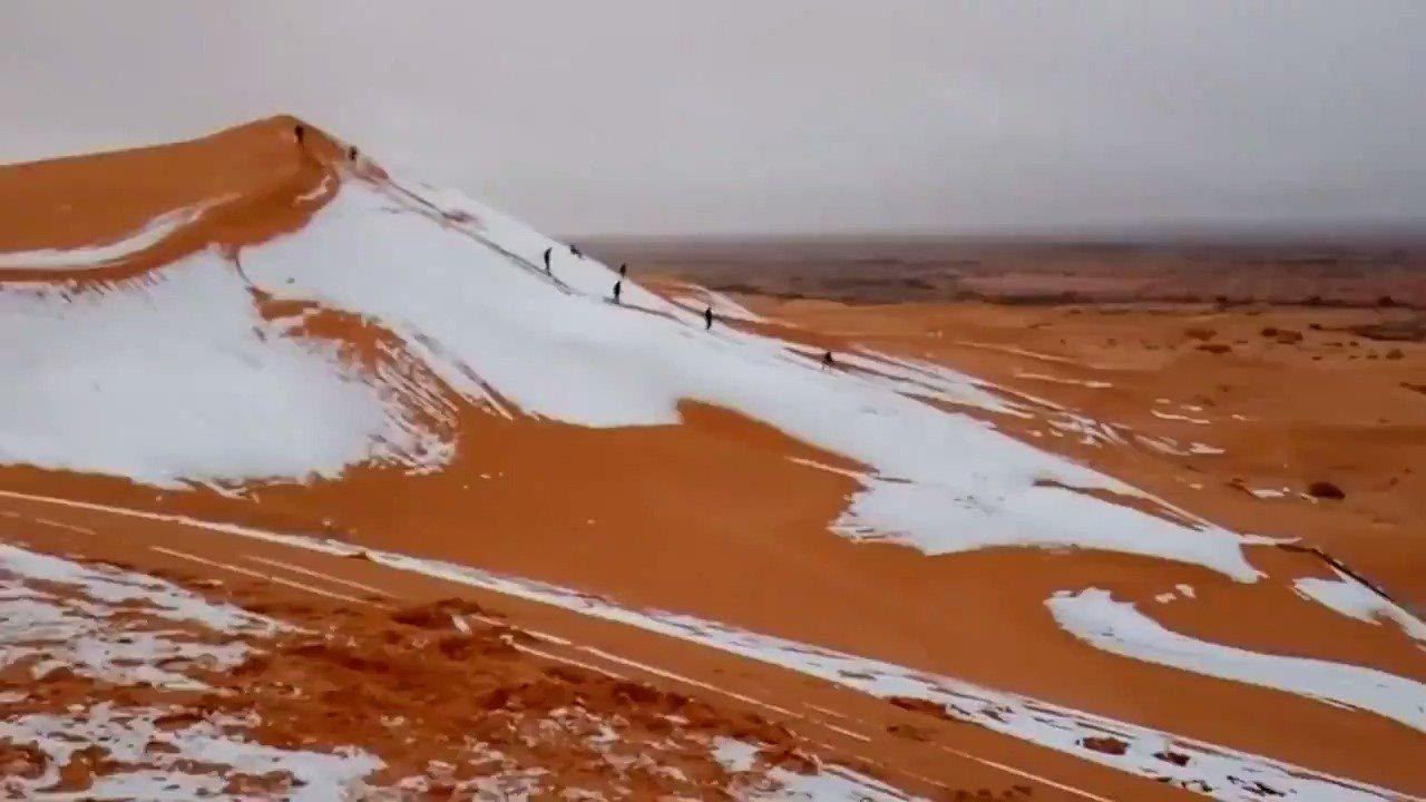 WATCH: Snow reaches the Sahara, the hottest desert in the world https://t.co/pJfF6mVMy3 via @ReutersTV https://t.co/U2faZiwsRT