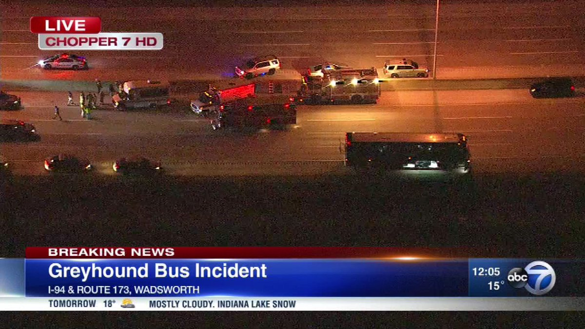 Suspect in custody after incident involving gunman on Greyhound bus; no injuries reported