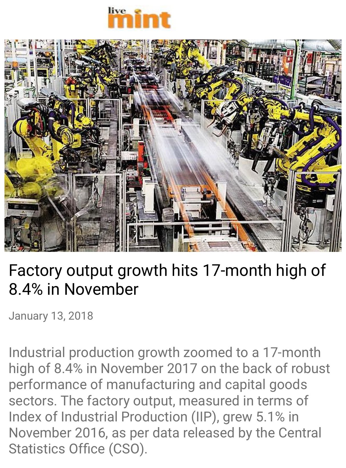 Factory output growth hits 17-month high of 8.4% in November https://t.co/O6l6PuwlEE  via NMApp https://t.co/FreSCx154X