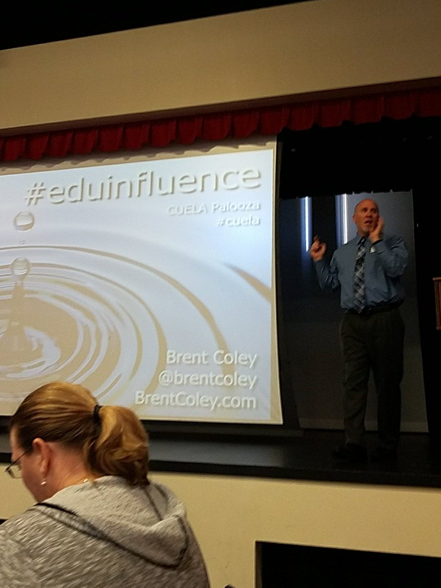 Listening to @brentcoley IN PERSON  😎 😁 about #eduinfluence at #cuela https://t.co/YDyPmsTqus