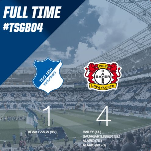 ⚽️ #FULLTIME  2 shots off the post and one goal from #Szalai: #TSG have to accept a 4-1 defeat today. Heads up boys!   #TSGB04 1-4 | ⏱️FT https://t.co/b0RRlLEIG5
