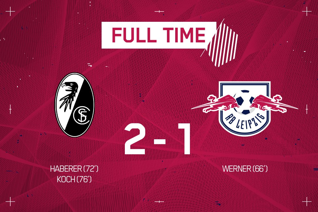 The outing to the Black Forest ends in disappointment for #DieRotenBullen 😕  🔴⚪ #SCFRBL 2-1 https://t.co/VMBtORhVkY
