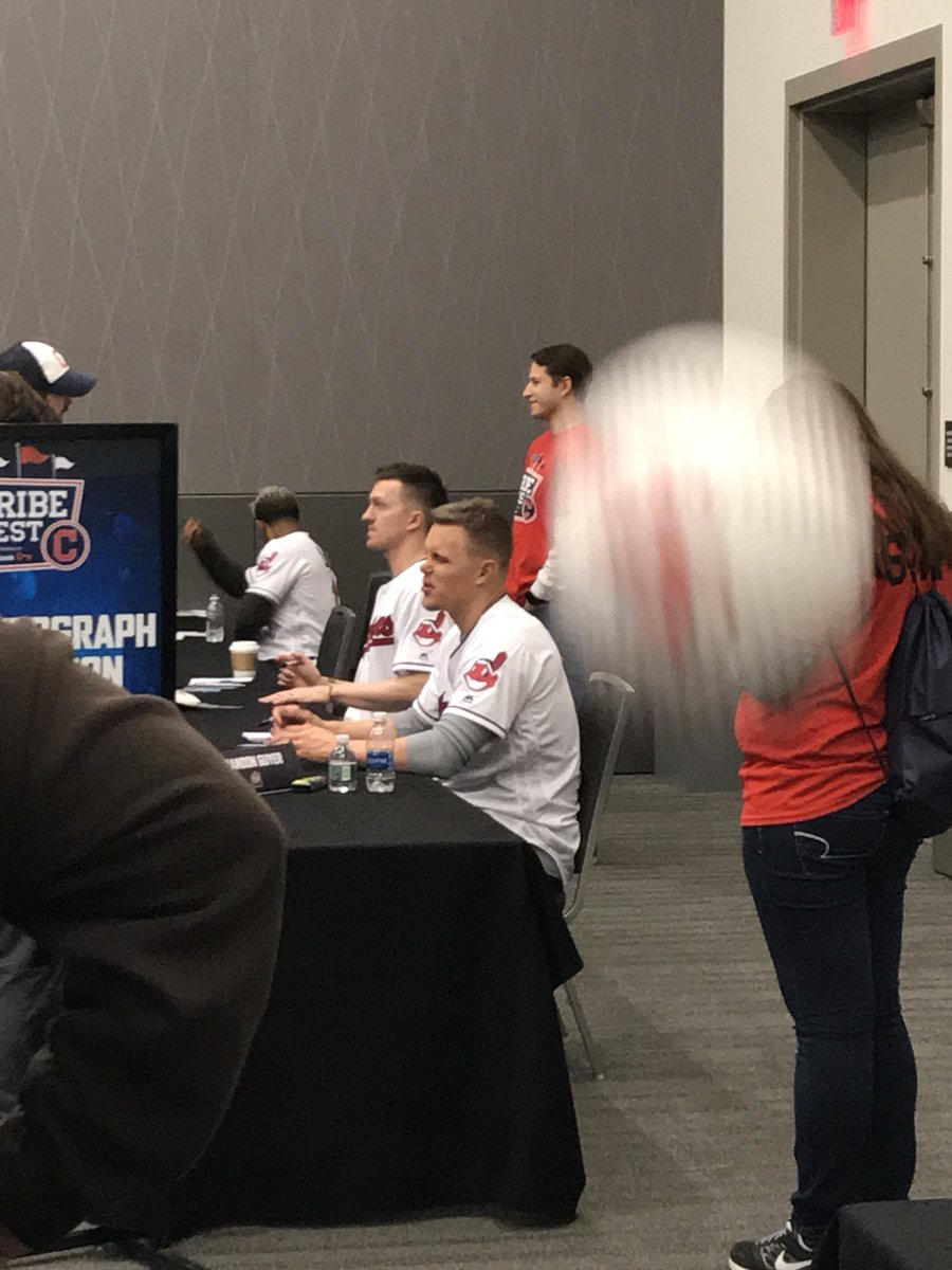 Threw a ball at @BrandonGuyer at #TribeFest... he said I threw like a girl and signed it anyway. @Indians https://t.co/Q96XiJkt5Q