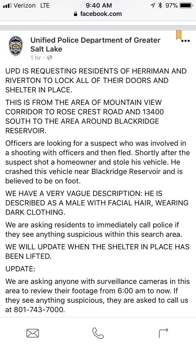 Riverton and Herriman shelter in place: https://t.co/saGpdYNi0o