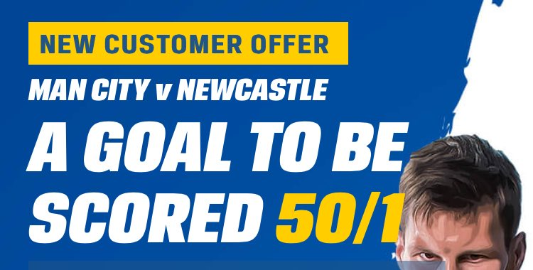 A GOAL TO BE SCORED @ 50/1 in Man City Vs Newcastle! ⚽️  Don't miss out on this insane offer!  BET NOW ➡️ https://t.co/8BDvtgol8F https://t.co/HSq1PcLKtu