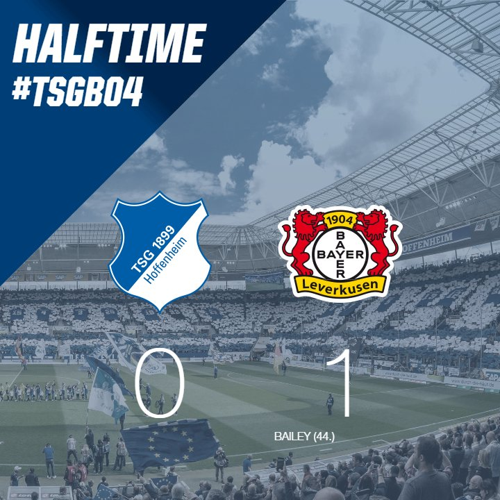 ☕️ #HALFTIME  Into the break in Sinsheim! #TSG is a goal behind against @bayer04fussball despite being the more active team. Bailey's goal the only thing separating the two teams at this stage. Still all to play for - LET'S FIGHT #TSG! 😎✊  #TSGB04 0-1 | ⏱️ HT https://t.co/vfEGbNy78O