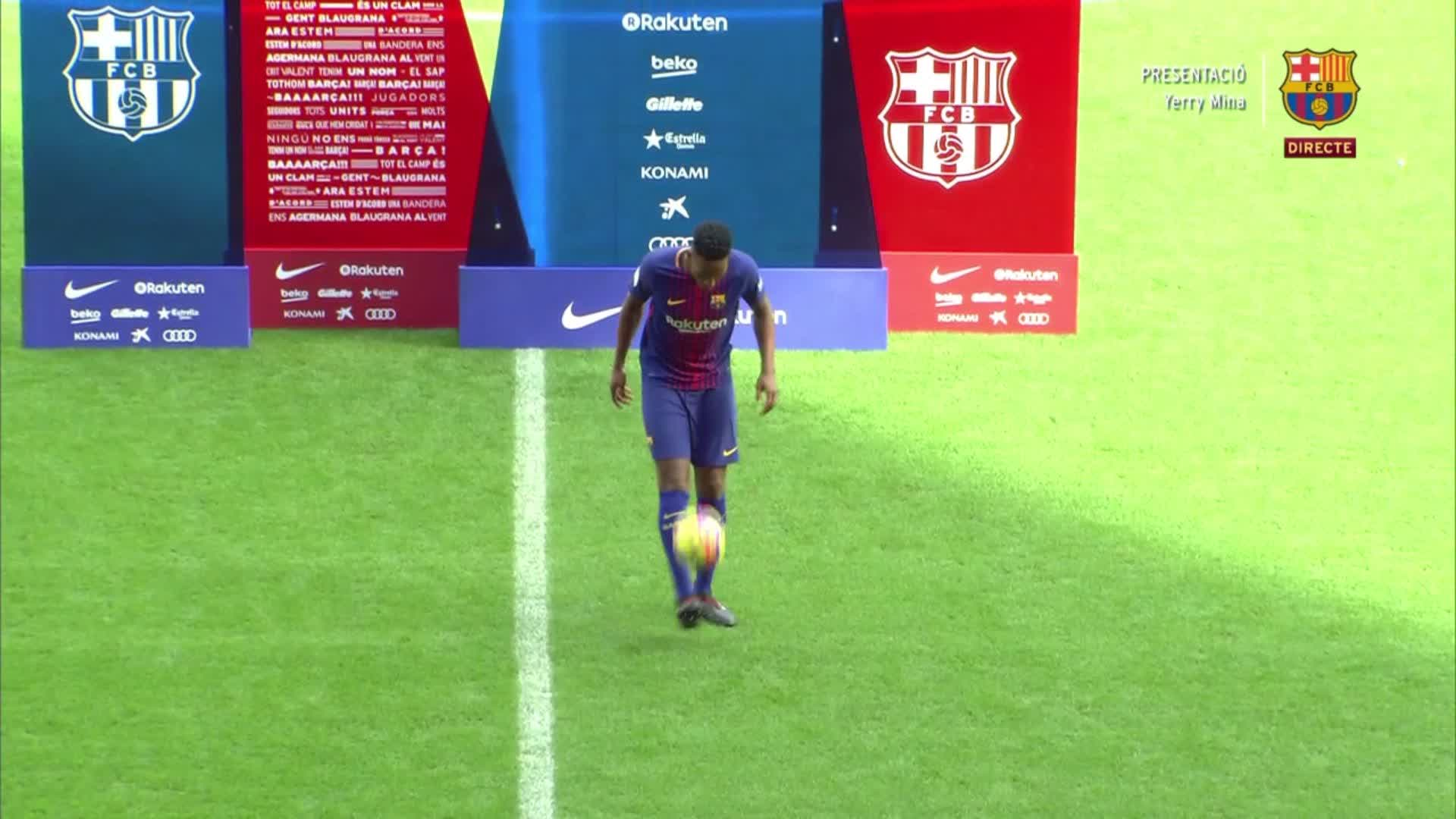 �� Camp Nou  ⚽ Yerry Mina ������  #BeBarça #ForçaBarça https://t.co/KCTPMBRTIk