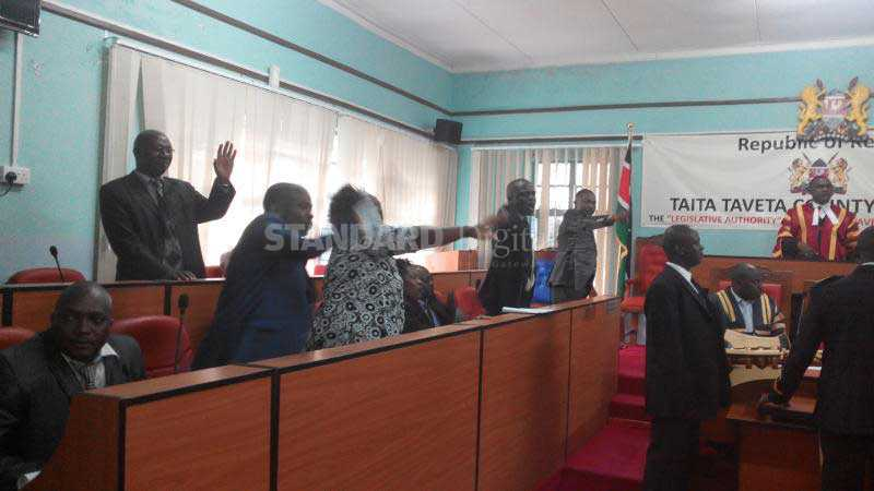 NASA and Jubilee MCAs fight as Taita Taveta assembly adopts Peoples Assembly motion