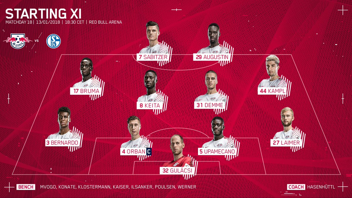 RT @RBLeipzig_EN: We won't keep you waiting any longer 😉  Our first line-up of 2018... 🔴⚪ #RBLS04 #BundesligaIsBack https://t.co/zQElhM7cxs