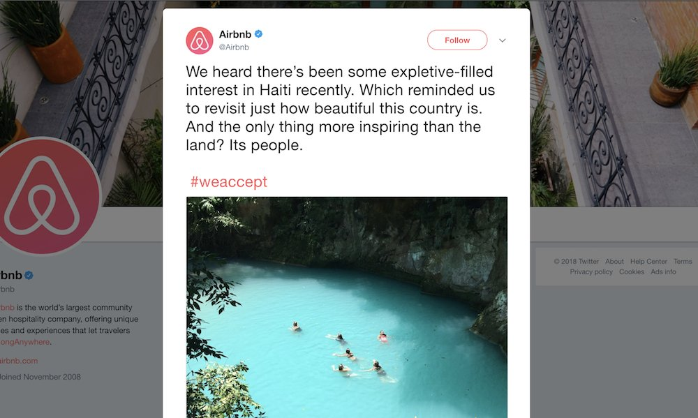 Airbnb runs ad promoting 'beautiful' Haiti after Trump's 'shithole country' remark https://t.co/R6frR155Sb https://t.co/uUGutaUNuo