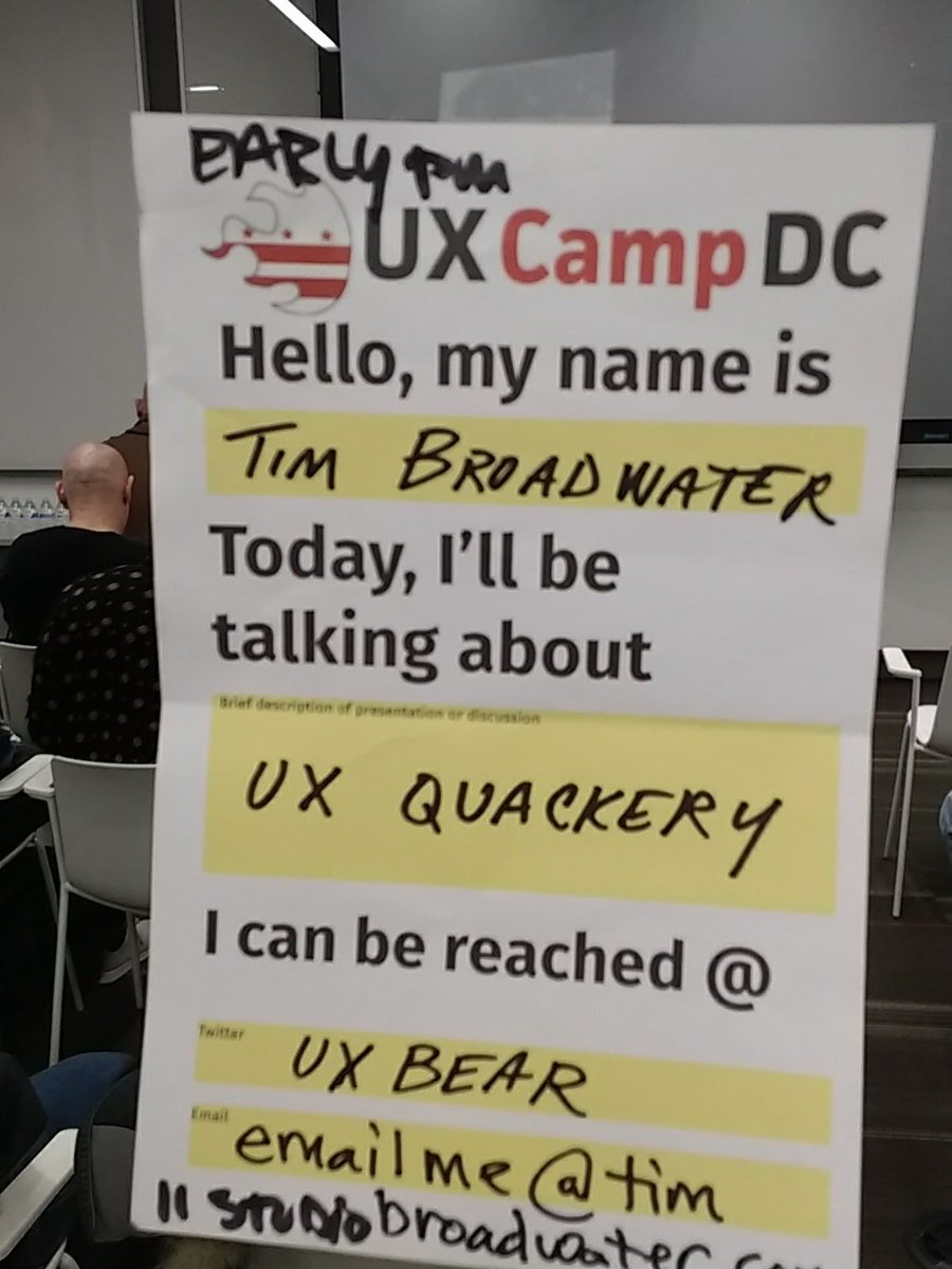 Time to up my #ux quackery game with @uxbear #uxcampdc https://t.co/YPumIXGHR7