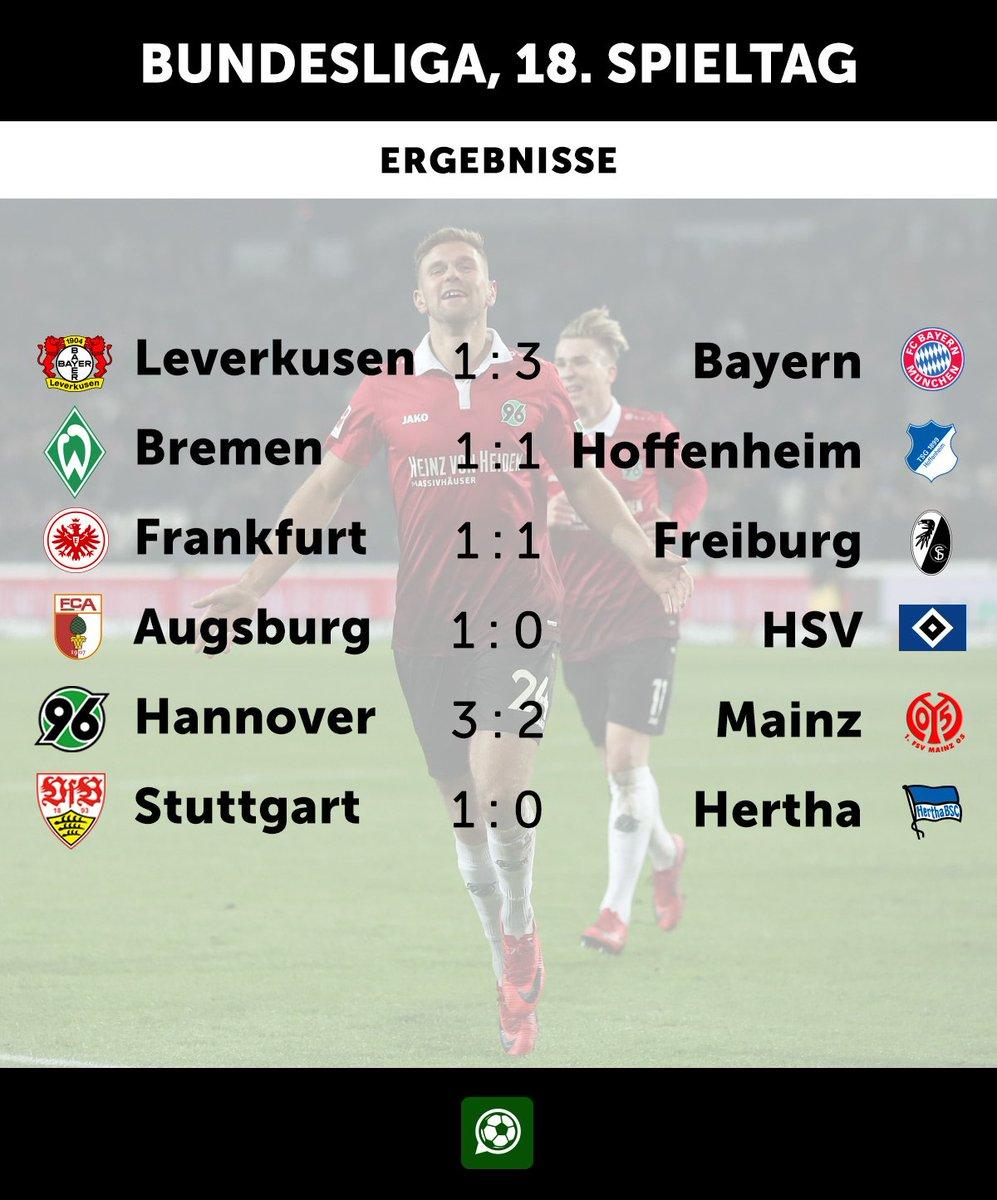 Das sind die Ergebnisse in der #Bundesliga. #B04FCB #svwtsg #SGESCF #fcahsv #H96m05 #VfBBSC https://t.co/gyVAfLqbXS