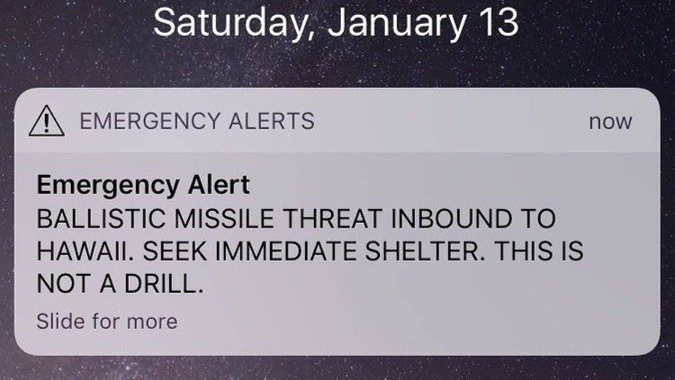 Hawaii alert system accidentally warns of imminent 'BALLISTIC MISSILE THREAT' https://t.co/VPUZ7ZQLwW https://t.co/LbP3yvnSib