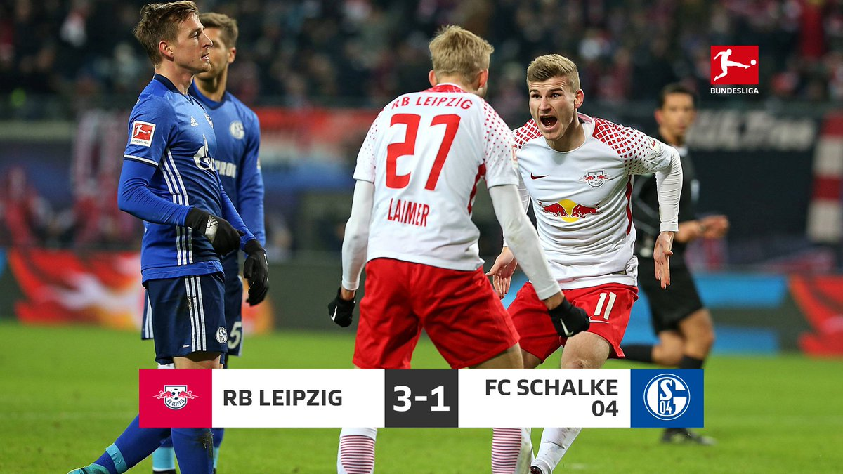 Full time = celebration time for @RBLeipzig_EN, who leapfrog @s04_en into second place 🐸 #RBLS04 https://t.co/CYW6xFlKVu