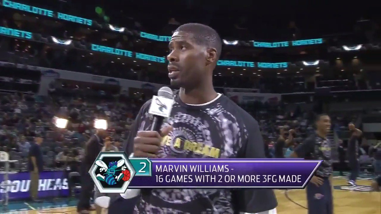 Marvin Williams addresses the @hornets crowd about MLK! https://t.co/Ckq0cXDLMV