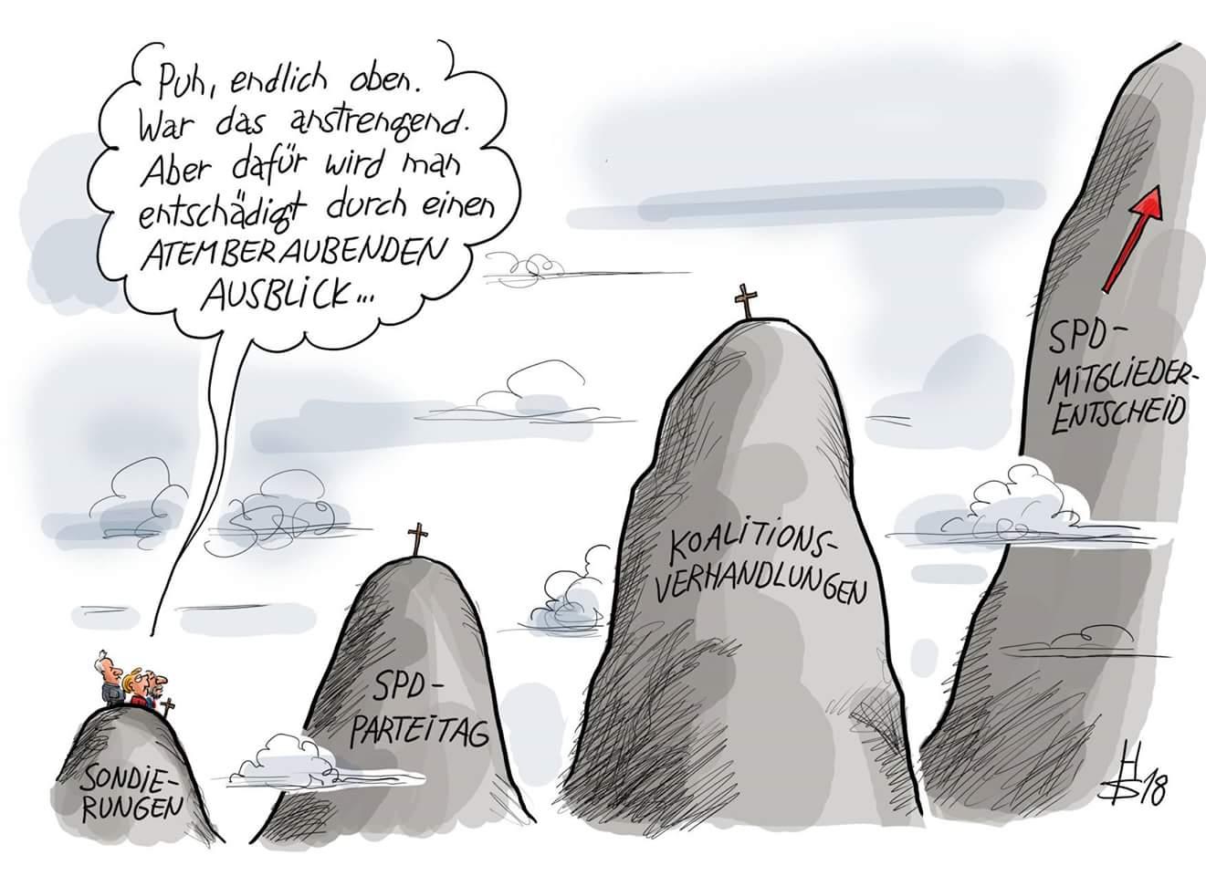 Von #Gipfel zu Gipfel. Das Buch von Rudolf #Rother mit spektakulären Blicken in den #Abgrund wird demnächst von der #SPD um ein Kapitel erweitert. 😉 (Karikatur Sakurai) https://t.co/kt6p3flXkU