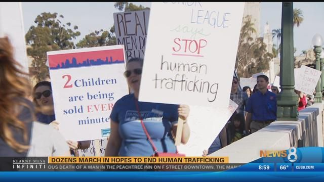Dozens march in hopes to end human trafficking