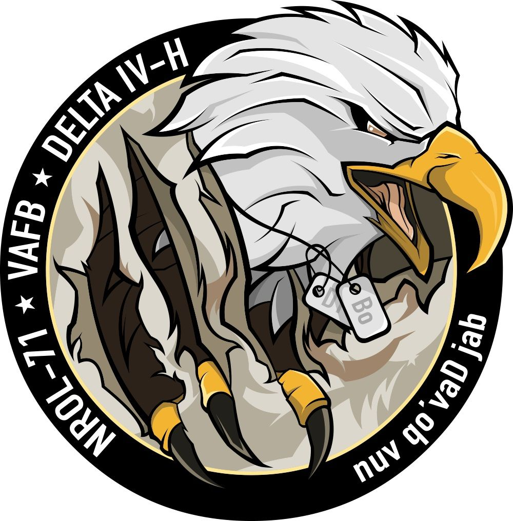 I'm going to space! And I couldn't be more proud. On the mission logo for #NROL-7, the Eagle's dog tags say Bo. The #DeltaIV Heavy is the world's highest-capacity rocket and in September it will carry an image reconnaissance satellite. Keeping us safe @NatReconOfc @ulalaunch https://t.co/eGxKE0ASoj