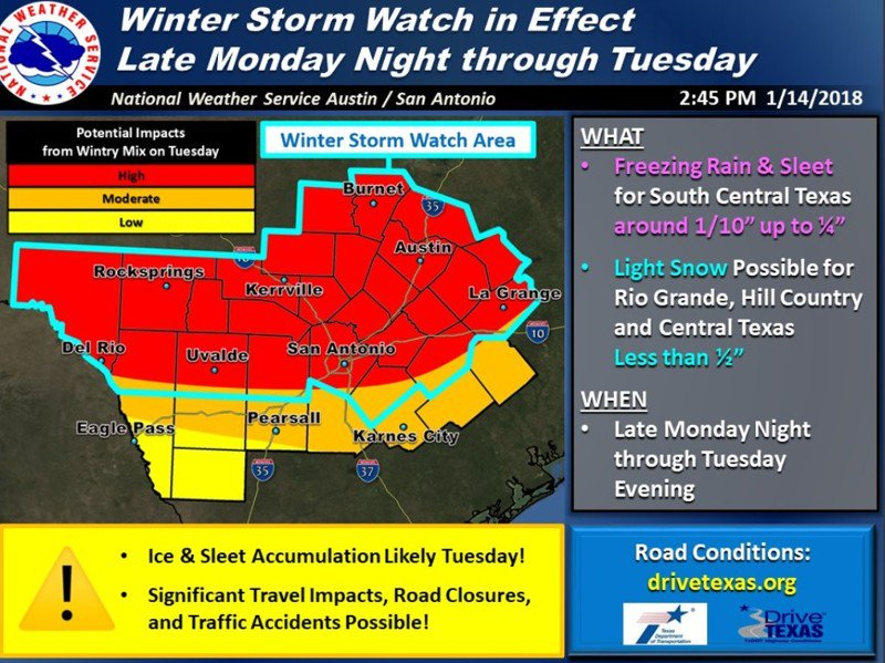 Tuesday winter storm watch issued as chance of sleet looms