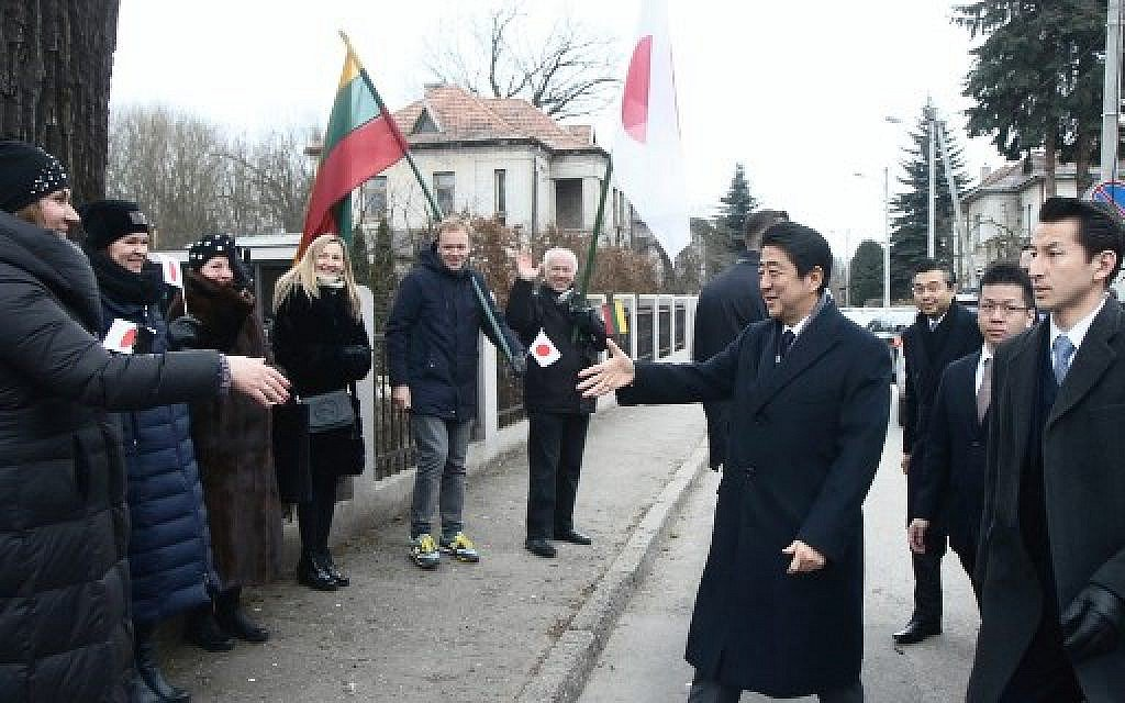 Abe visits memorial to 'Japanese Schindler' in Lithuania