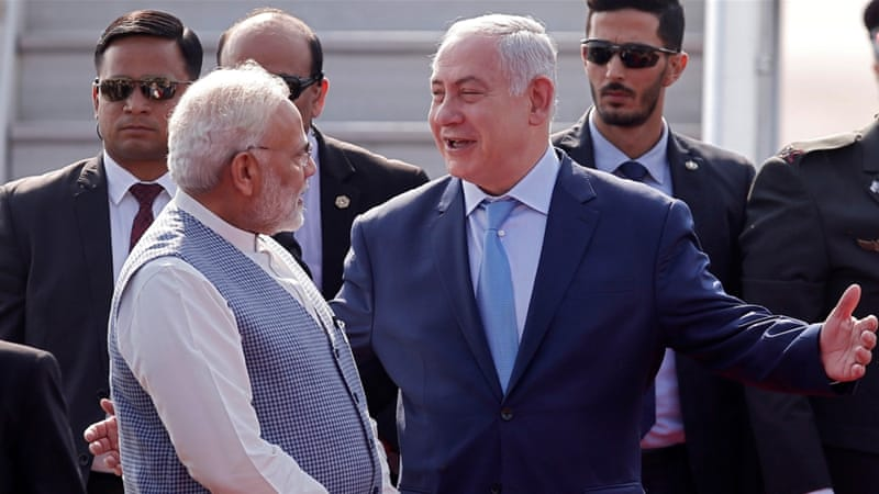 India's PM Modi gives warm welcome to his Israeli counterpart Netanyahu