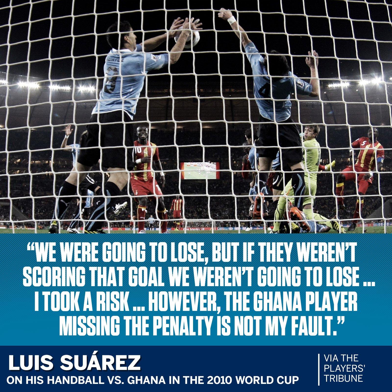 Luis Suarez reflects on his infamous handball. https://t.co/eifZPIt4JS