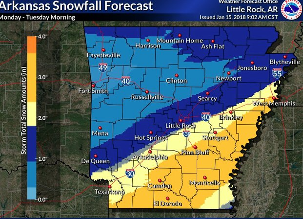 Snow, 'brutally cold air' in forecast for most of Arkansas