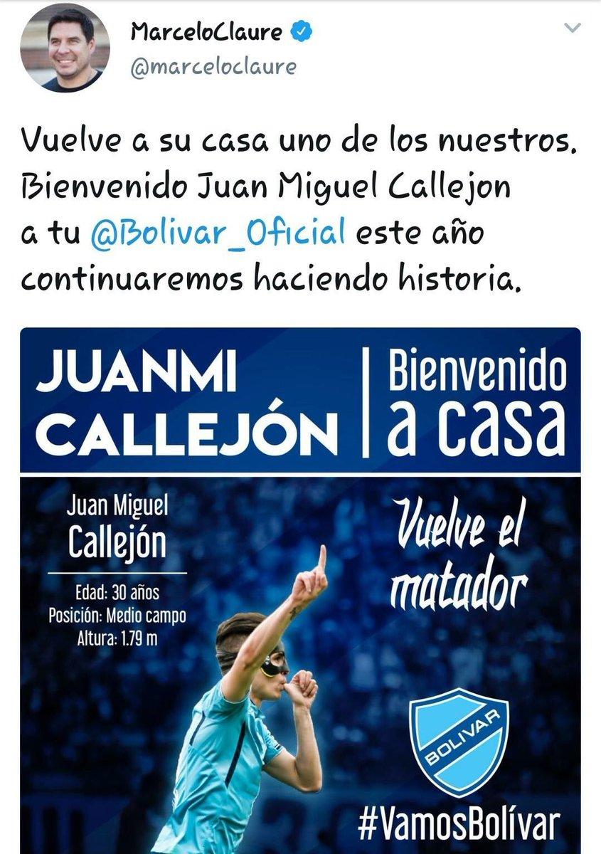 RT @CoboGonzalo: .@Bolivar_Oficial suma a Juanmi Callejón, la ofensiva celeste se ve potenciada. https://t.co/yUNXPym1TI