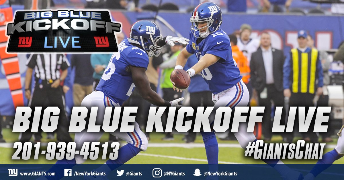 It's a Tuesday edition of Big Blue Kickoff Live at 12PM ET on https://t.co/PxnieK9dtd and Giants App. #GiantsChat https://t.co/oda0ne265k