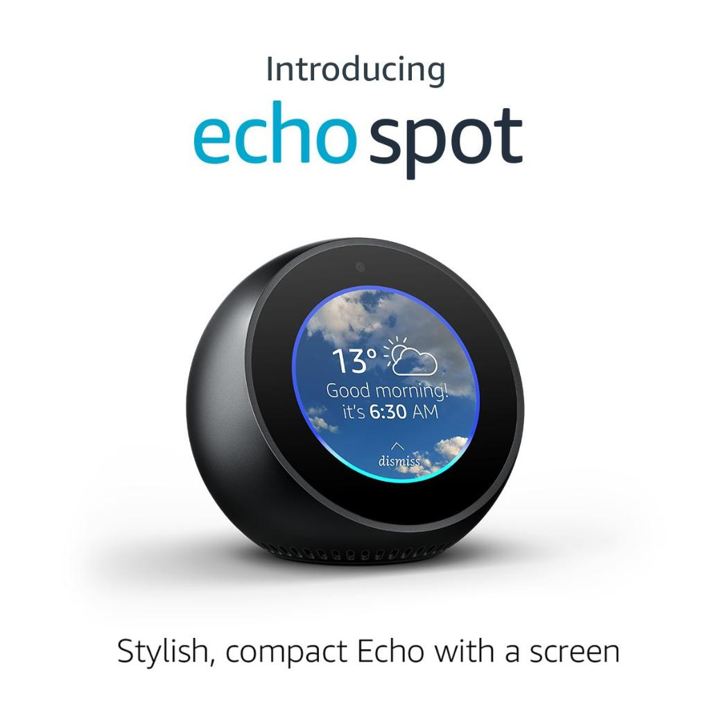 Introducing Echo Spot - stylish, compact Echo with a screen. https://t.co/Id8AUQ3Chx https://t.co/wp5Su6Vc7t