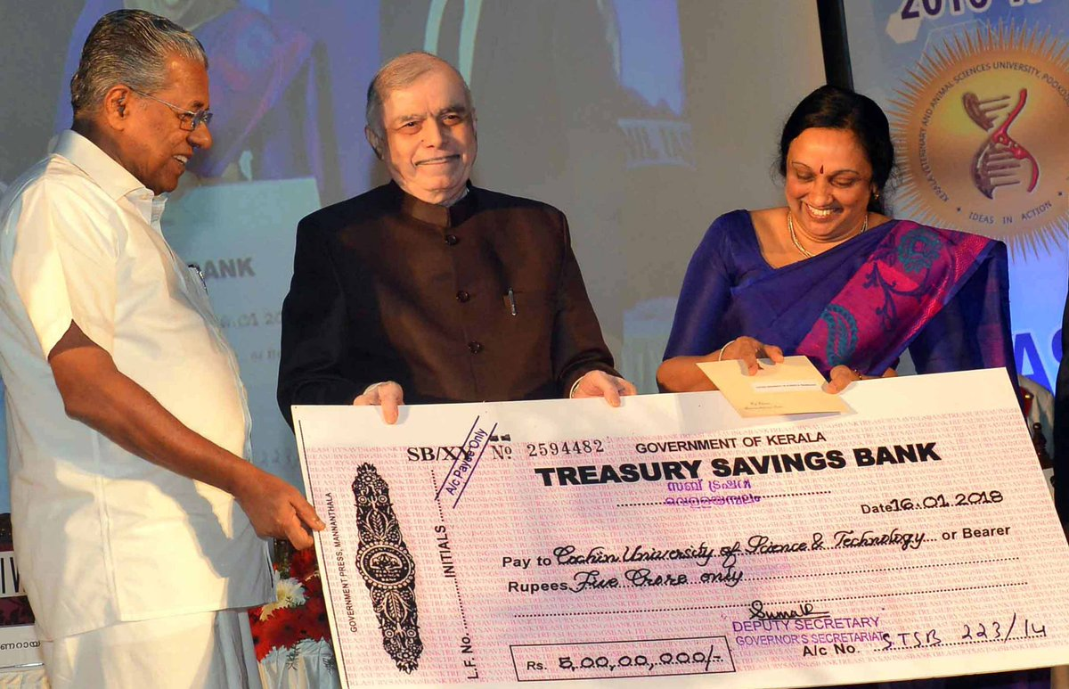 test Twitter Media - Cusat won Chancellor's award for best university in Kerala.  See the amount on the cheque?  Yes, rub your eyes and see it again.  Stunned? It is great to see a huge prize and its timely dispersal.  Just wondering what/when/how cash awards/compensations were given in 'other cases' https://t.co/3tl2z2HPyV