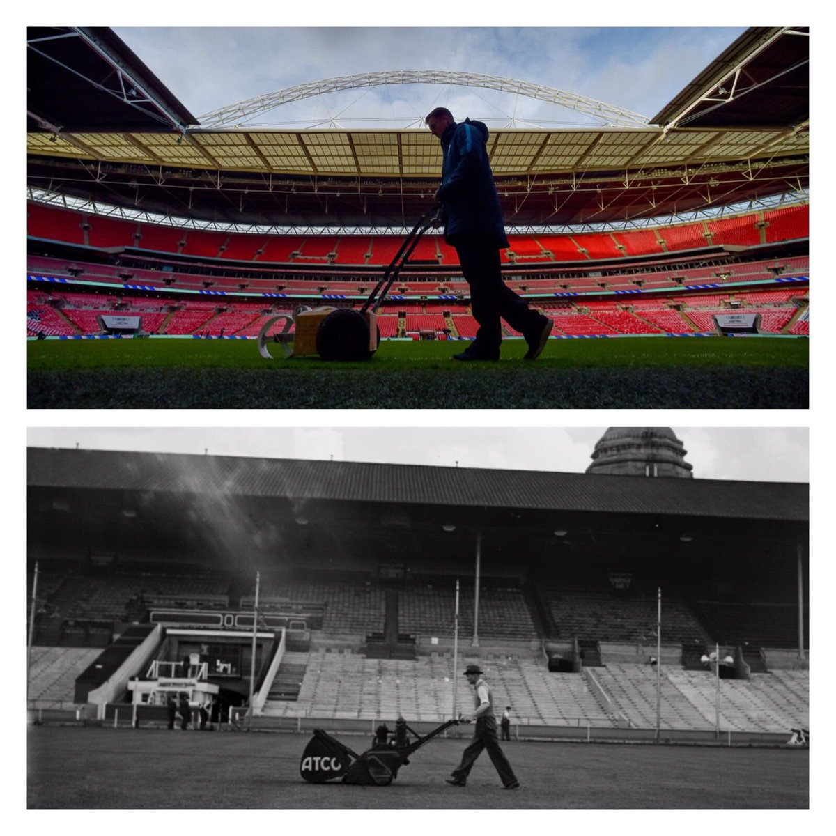 Today's #ThenAndNow 👇  A throwback to Wembley 1939. The groundsman prepares the pitch ahead of the FA Cup final   🔁   Fast forward 79 years to 2017 and the pitch gets the same treatment ahead of 🏴🆚🇩🇪 https://t.co/YGm5WHyHq9