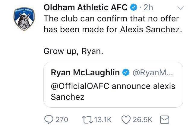 RT @TheFLZone: The banter from Oldham's twitter account 😂 #oafc https://t.co/YZgjJV9NXZ
