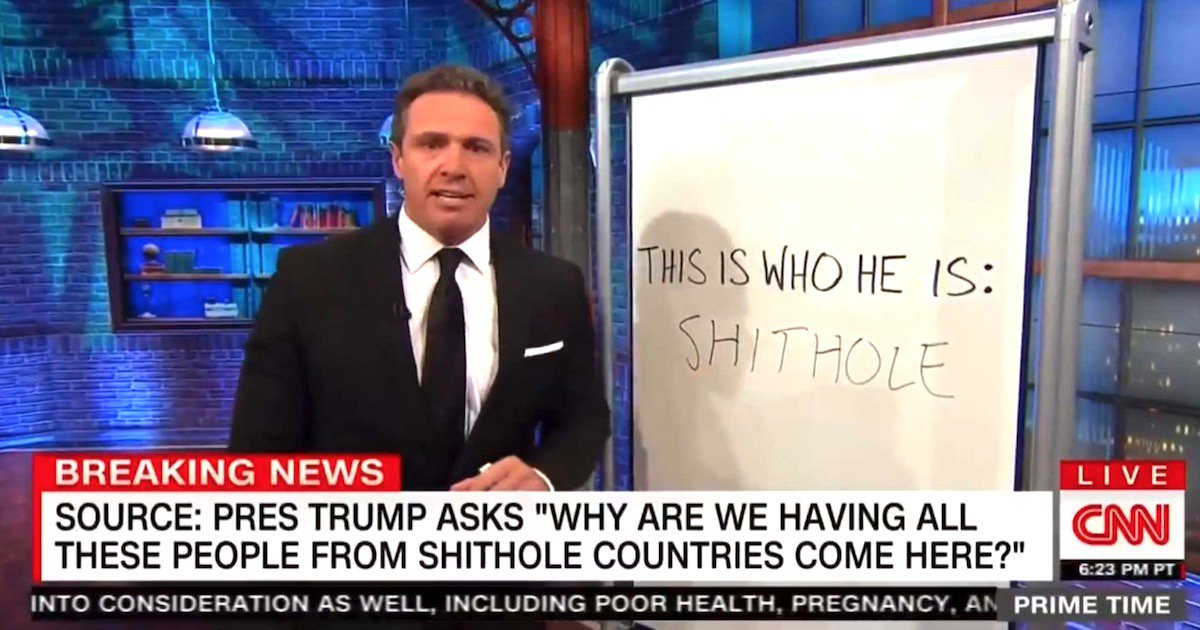 Guess How Many Times CNN Has Said the Word 'S***hole' Since the Alleged Trump Report Broke https://t.co/tBbnjFLL0y https://t.co/TUM5HO2bkZ