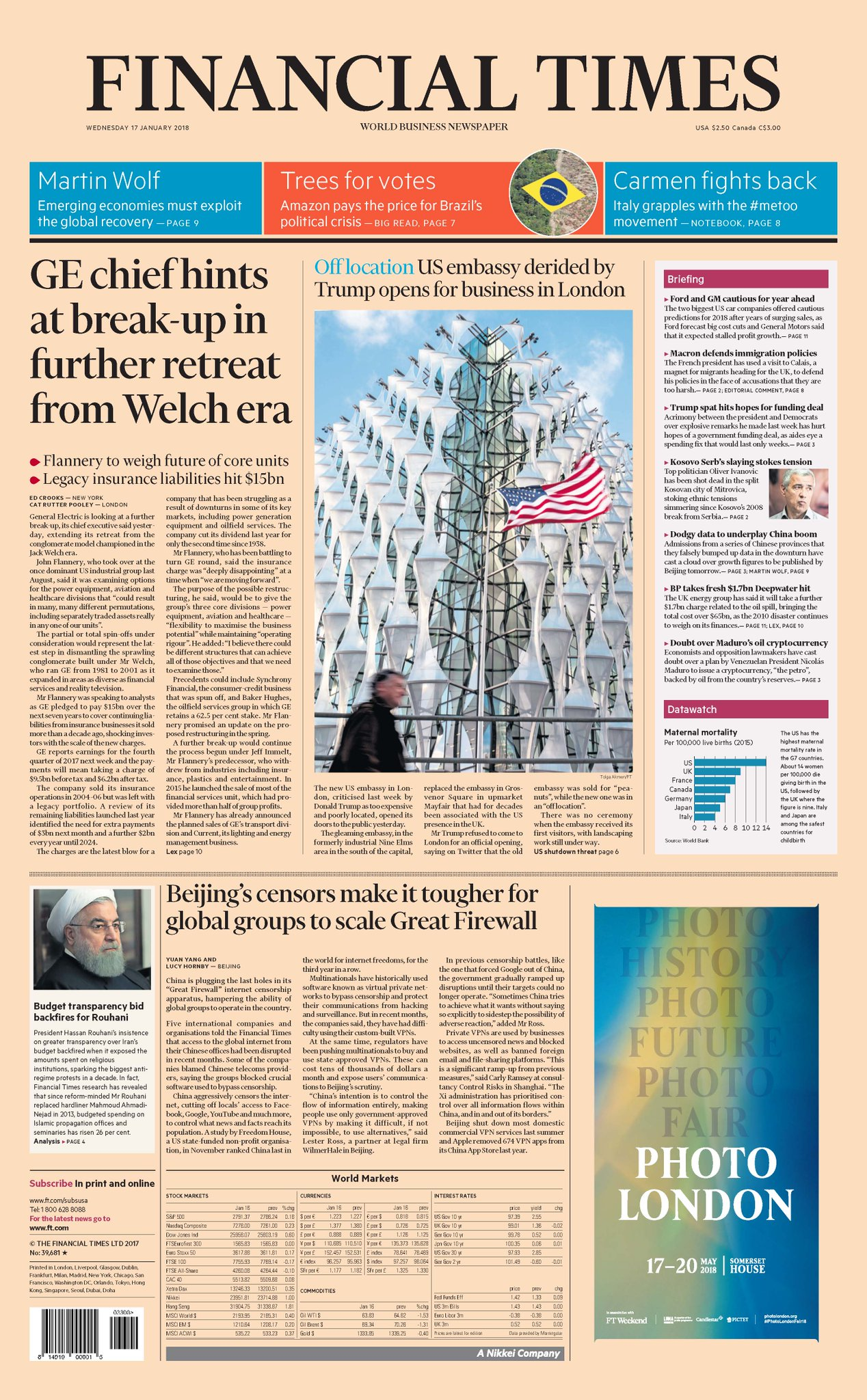 Just published: front page of the Financial Times international edition for January 17 https://t.co/kVKoZQEO7m https://t.co/tpAz3EUIuO