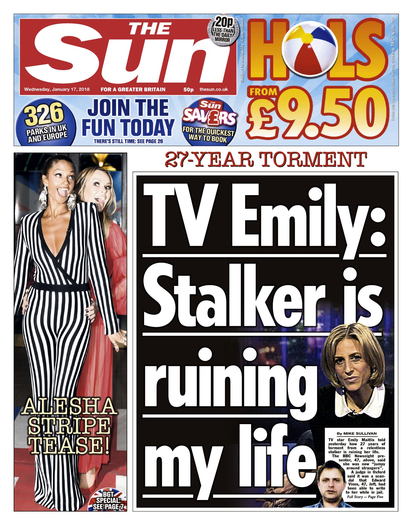 Wednesday's Sun 'TV Emily: Stalker is ruining my life'  #tomorrowspaperstoday #bbcpapers (via @hendopolis) https://t.co/WMdevSofxN