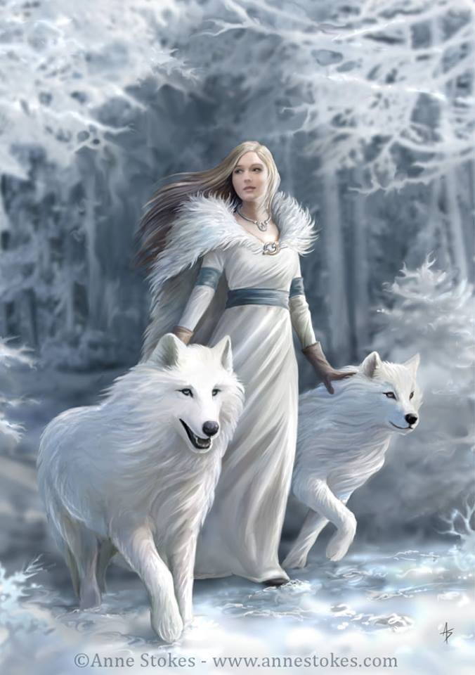 test Twitter Media - This Snow Maiden with her white wolves by #AnneStokes reminds me of the protective nature and loyalty of the direwolves in Game of Thrones. #Fantasy #Snowfall #magicalwinter #wolves https://t.co/dvhH8m5hBQ