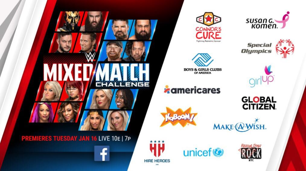 The first match up of @WWE's newest show, Mixed Match Challenge, is LIVE tonight at 10pm EST. You don't want to miss @SashaBanksWWE & @FinnBalor compete against @ShinsukeN & @NatbyNature! #WWEMMC https://t.co/v78BgCAIzS