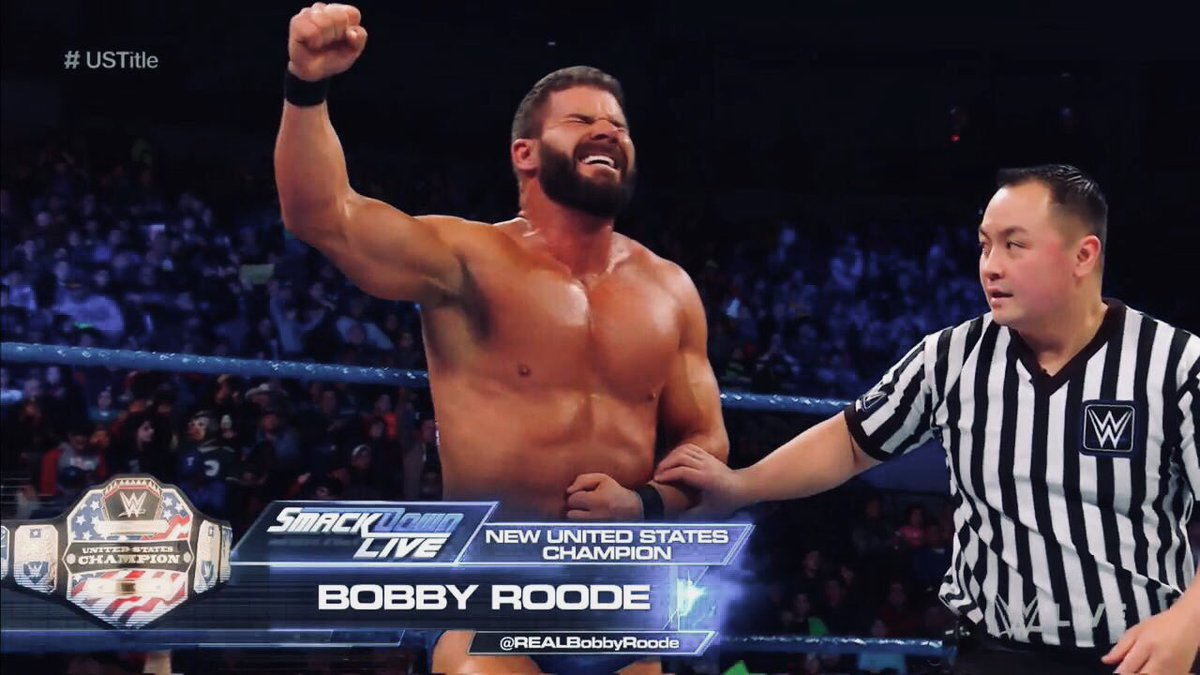 RT @ConnectWWE: #BobbyRoode Def. #JinderMahal To Win His First US Championship  #SDLive {16th Jan, 2018} https://t.co/WXbFSRDjJM