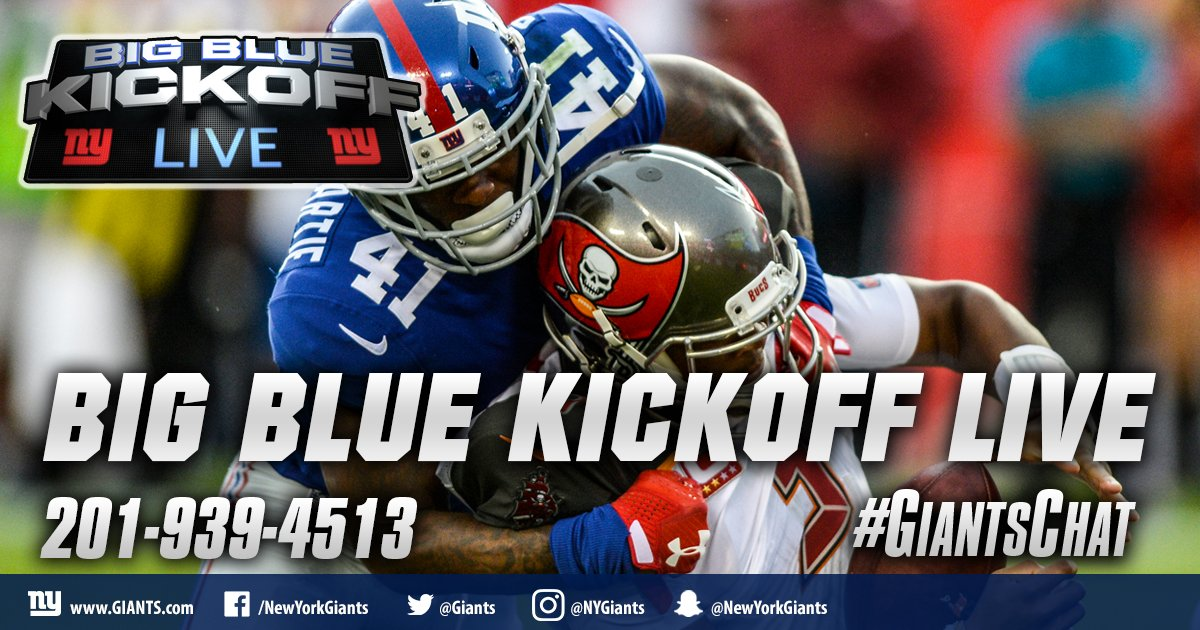 It's a Wednesday edition of Big Blue Kickoff Live at 12PM ET on https://t.co/PxnieKqORN and Giants App! #GiantsChat https://t.co/hntLIjM2QQ