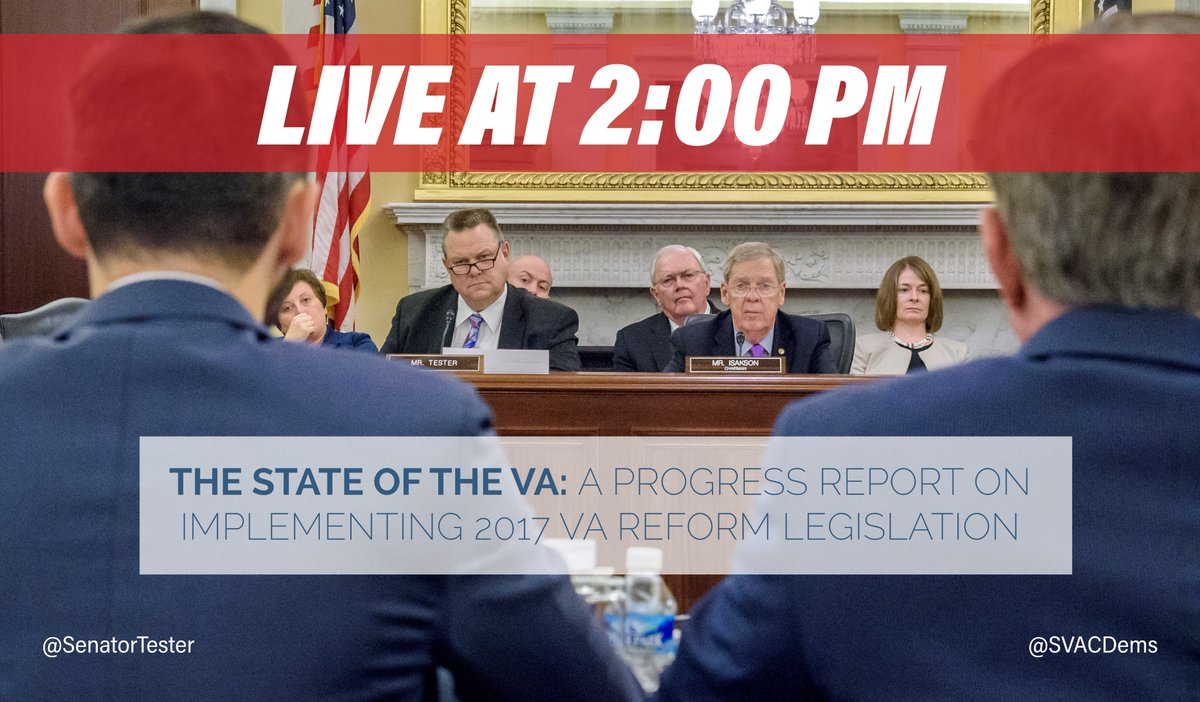 HAPPENING SOON:  Senate Veterans' Affairs Committee hearing on the state of the VA.   Follow along with @SVACDems for LIVE updates.   Watch HERE: https://t.co/7K0g5MXkvg https://t.co/ZxW7wQI7y5