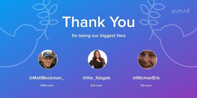 Our biggest fans this week: @MattBeckman_, @the_fabgab, @MichaelErb. Thank you! via https://t.co/oRB2FGAhuX https://t.co/75FHKz4j62