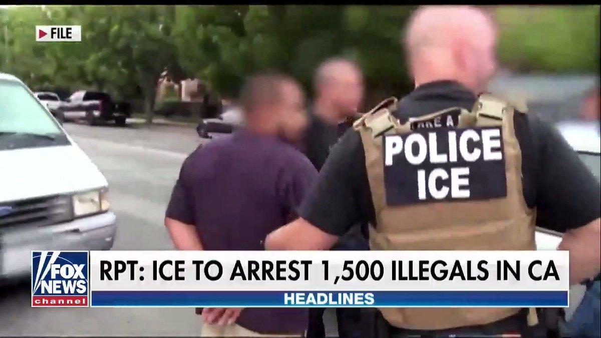 Report: ICE to arrest 1,500 illegals in California.