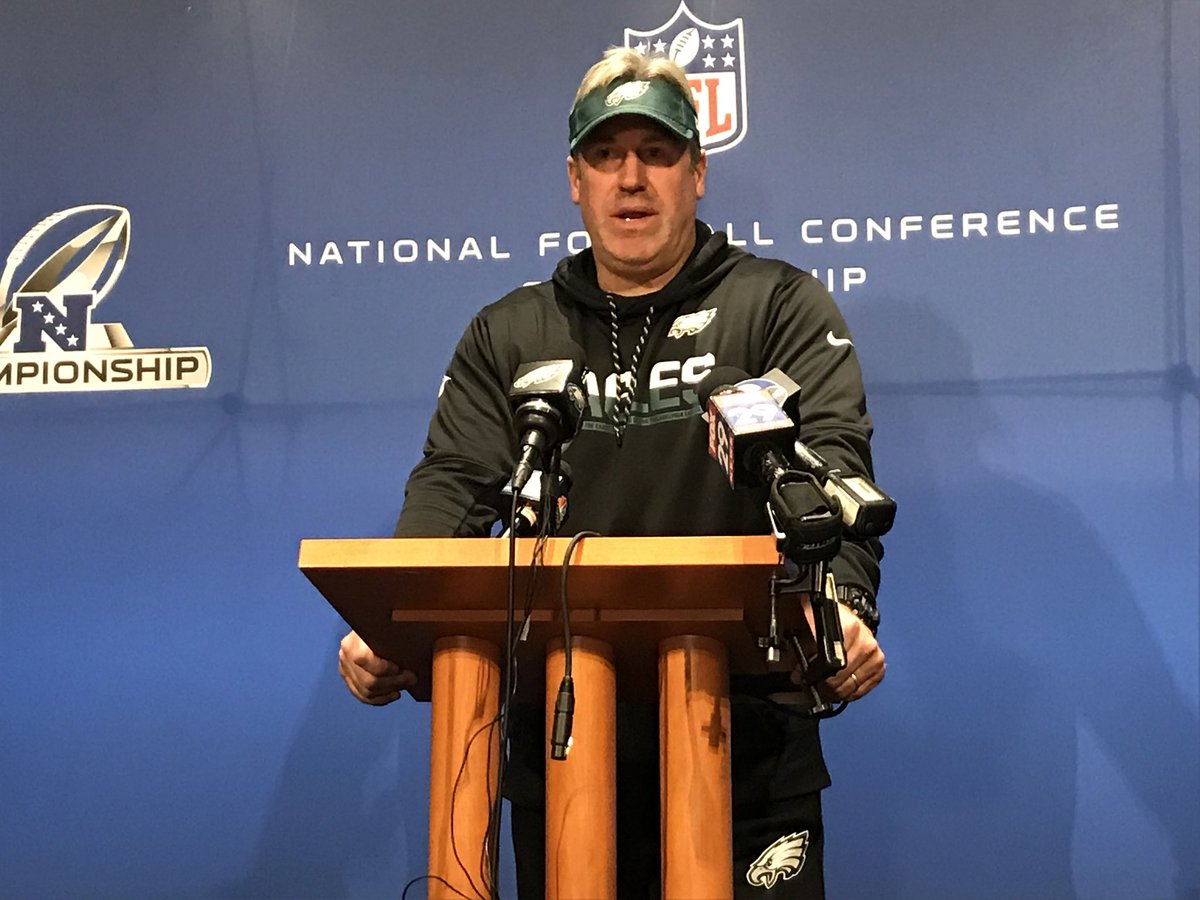 """What does Doug Pederson think about the four QBs left in Nick Foles, Case Keenum, Blake Bortles and Tom Brady?  """"It shows they're on good teams. It's not about one guy.""""   #FlyEaglesFly @FOX29philly https://t.co/GINBrBMS2q"""