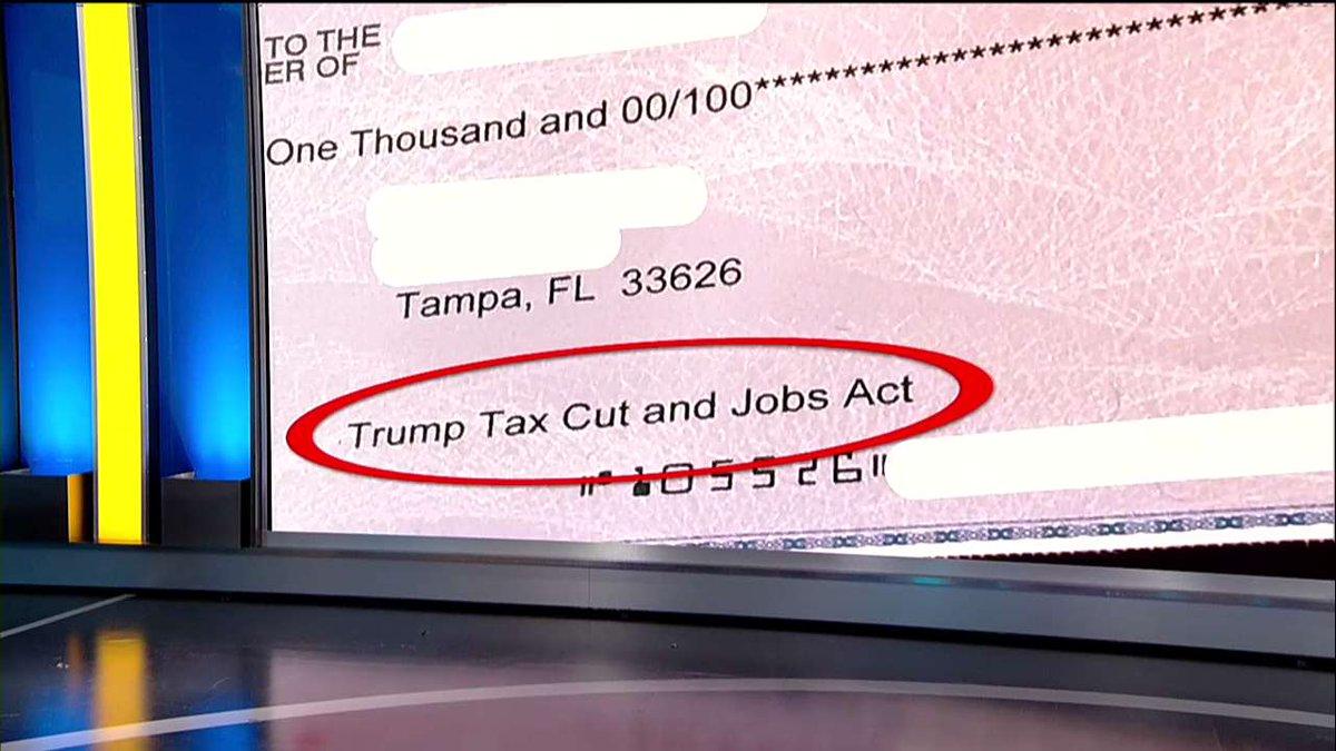 'Trump Tax Cut and Jobs Act' the Reason Employees Getting $1K Bonus Checks, Company Says