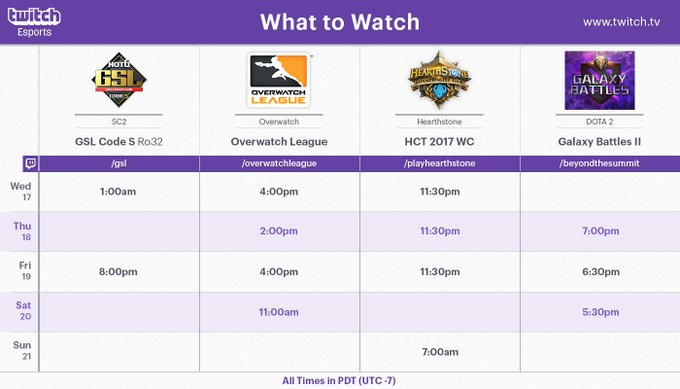 RT @TwitchEsports: Esports never sleeps! Here's what to watch on @Twitch this week!  What will you be watching? https://t.co/Me1VCrBacp