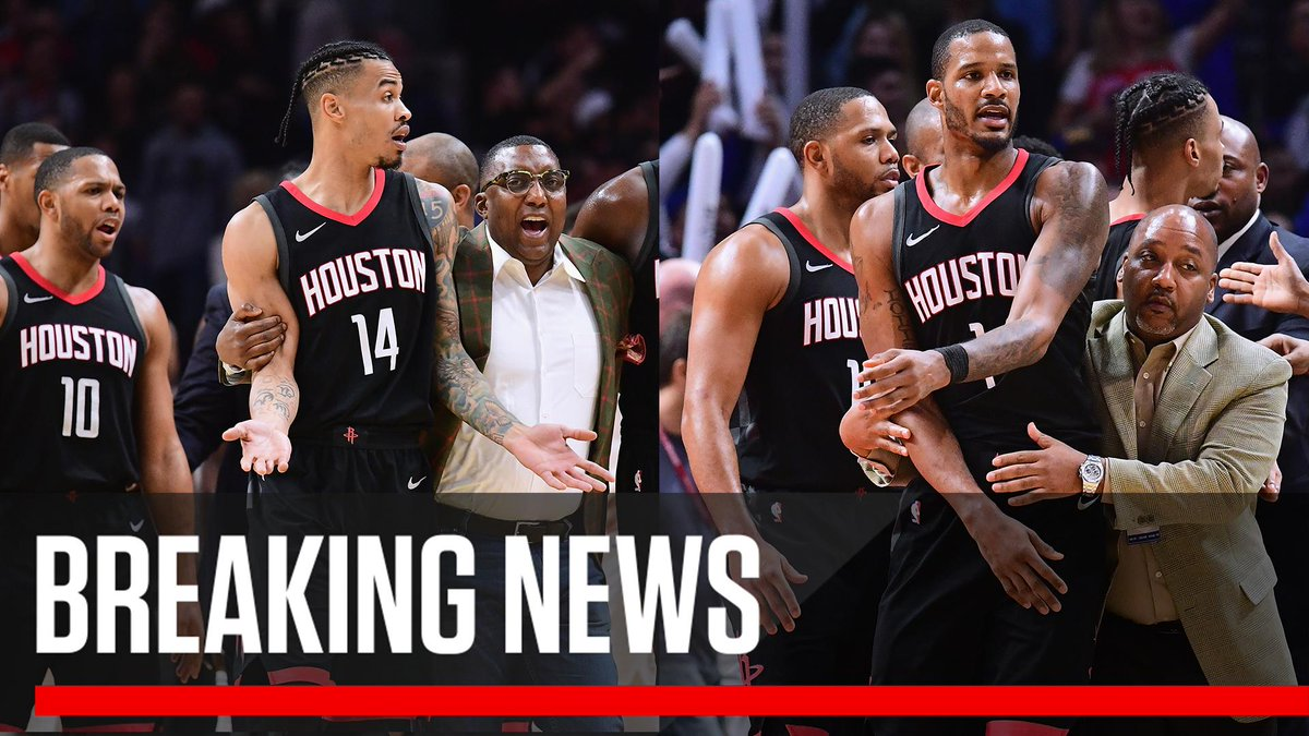 test Twitter Media - Breaking: The NBA is suspending Trevor Ariza and Gerald Green two games for aggressively entering Clippers locker room. No penalties for Blake Griffin, Chris Paul and James Harden. (via @wojespn) https://t.co/WPTIjMlt8T