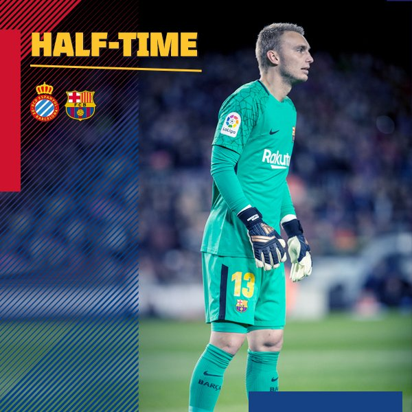 ⏰ At the break! RCD Espanyol 0-0 FC Barcelona ������ #ForçaBarça #CopaBarça https://t.co/GdCX0ompUn
